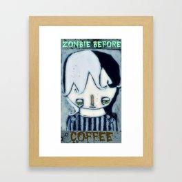 Zombie before Coffee Framed Art Print