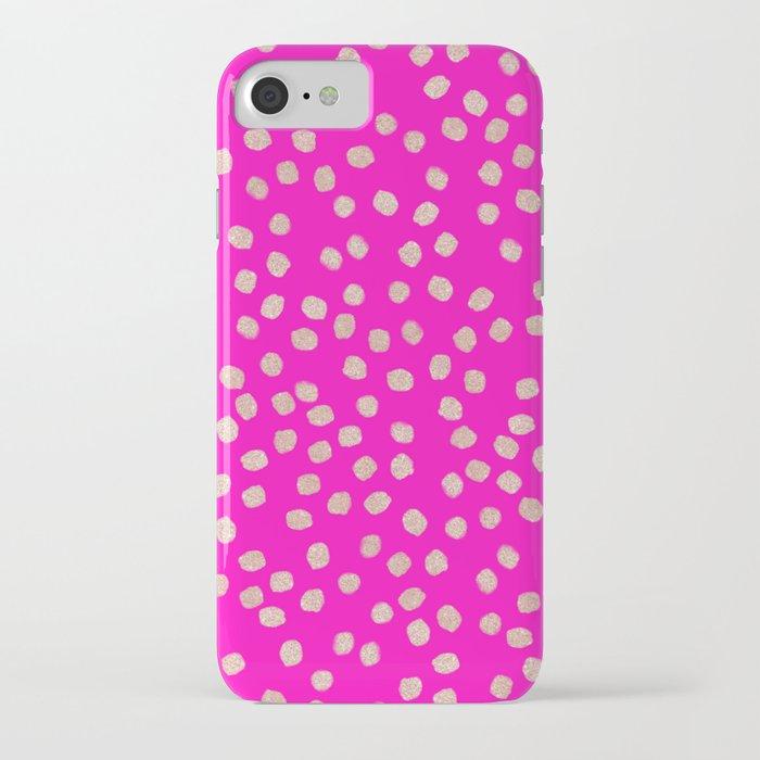 Modern rose gold glitter polka dots neon pink attern iPhone Case