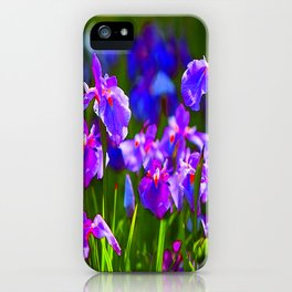 PURPLE IRIS GREEN GARDEN  FLOWERS FLORAL ART iPhone Case