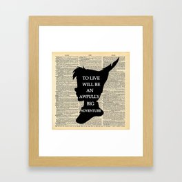 Peter Pan Over Vintage Dictionary Page - To Live Framed Art Print