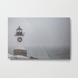 Winter Island Lighthouse-Winter Scene Metal Print