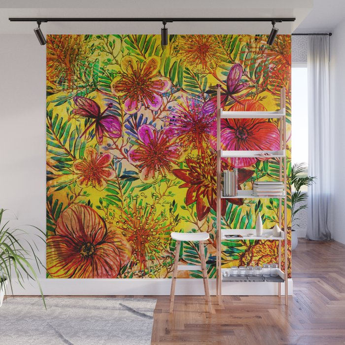 Tropical Hot Heat Flower Hibiscus Garden Wall Mural by