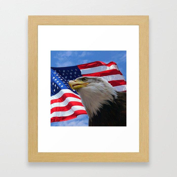 American Flag and Bald Eagle Framed Art Print