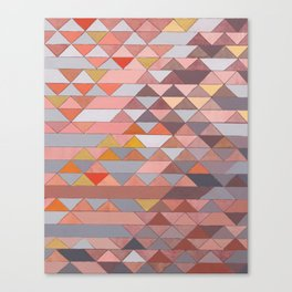 Triangle Pattern no.5 Gold, Pink and Brown Canvas Print