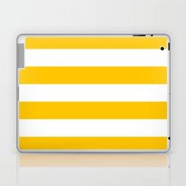 Aspen Gold Yellow and White Wide Horizontal Cabana Tent Stripe Laptop & iPad Skin