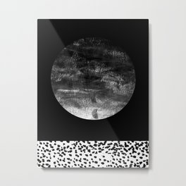Maru - moon abstract painting texture black and white monochromatic urban brooklyn nature city Metal Print
