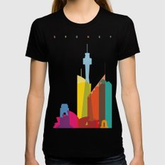 Shapes of Sydney. Accurate to scale Black MEDIUM Womens Fitted Tee
