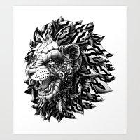 lion Art Prints featuring Lion by BIOWORKZ