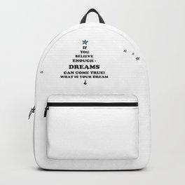 Dreams-come-true, quotes, stars, blackwhite paleblue , Xmas , Christmas , society6 Backpack