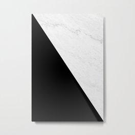 Marble And Black Diagonal Metal Print
