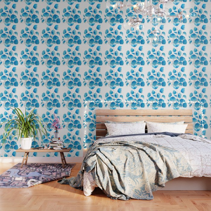blue poppy field watercolor Wallpaper
