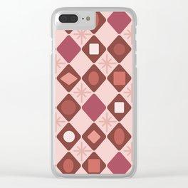 Mid Century Modern Rosewood Diamonds Clear iPhone Case