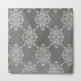 Vintage Damask - Charcoal Metal Print