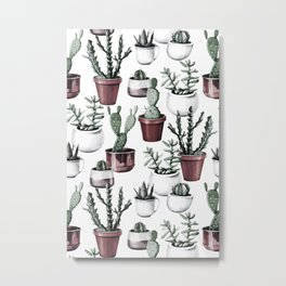 Happy Cacti in Rose Gold Pots Pattern Metal Print
