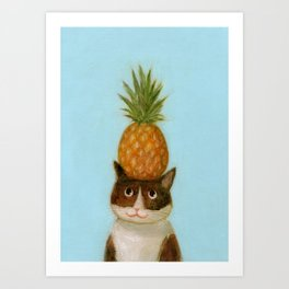 Pineapple Cat Art Print