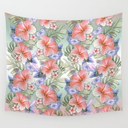 Hibiscus Aloha Stripe Wall Tapestry