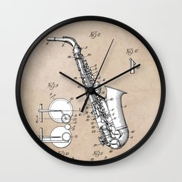 patent art Gillespie Saxophone 1945 Wall Clock