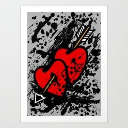 Hearts pierced with an arrow Art Print