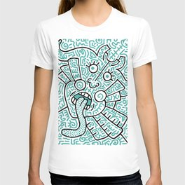 """The Face"" - inspired by Keith Haring v. teal T-shirt"
