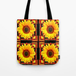QUATRE WESTERN BLACK & RED ART DECO YELLOW SUNFLOWER Tote Bag