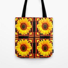 QUATRE WESTERN BLACK & RED ART DECO YELLOW SUNFLOWER Tote Bag