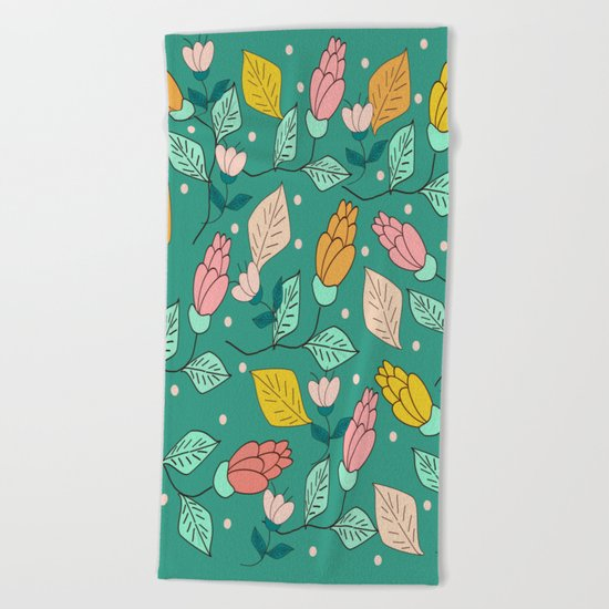 floral pattern 4 Beach Towel