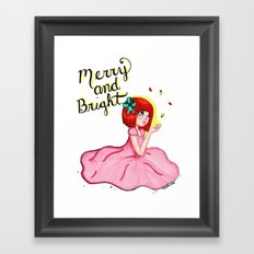 Merry and Bright Digital Holiday Girl Framed Art Print