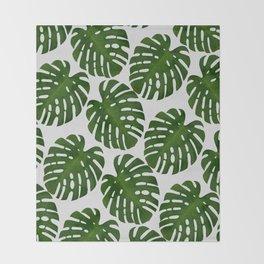 Monstera Leaf II Throw Blanket