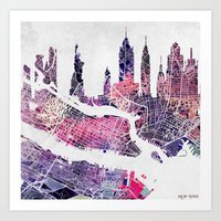 new york skyline Art Prints featuring New York Skyline + Map by Map Map Maps