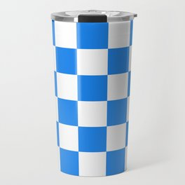 Checkered - White and Dodger Blue Travel Mug