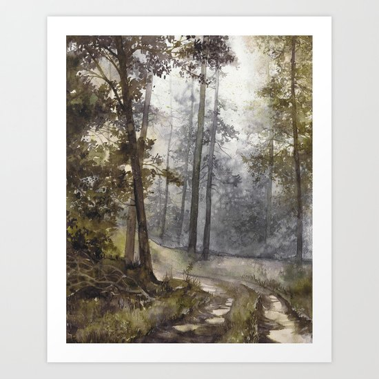 Wet Morning in the Forest Art Print