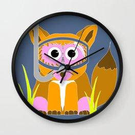 Pink Snorkel Fox Wall Clock