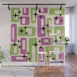 Retro Mid Century Modern Abstract Pattern 229 Purple and Olive Wall Mural