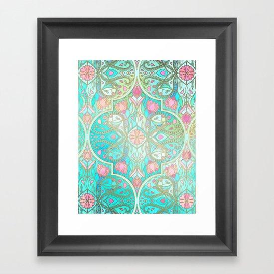 Floral Moroccan in Spring Pastels - Aqua, Pink, Mint & Peach Framed Art Print