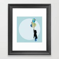 Little Girl With Balloons Framed Art Print