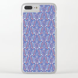 Tea Spoons Vector Cutlery Pattern Blue Clear iPhone Case