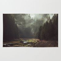 dream theory Area & Throw Rugs featuring Foggy Forest Creek by Kevin Russ