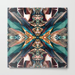 Abstract Turquoise Reflection Metal Print