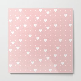 Pin Point Hearts Blush Metal Print