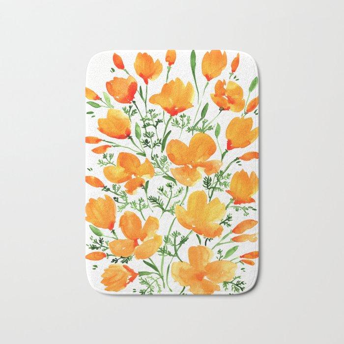 Watercolor California poppies Badematte
