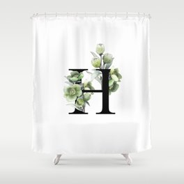 Letter 'H' Helleborus Flower Typography Shower Curtain