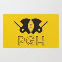 pittsburgh Area & Throw Rugs featuring Pittsburgh Football by John Trivelli