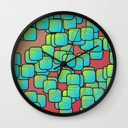 Emerald colored squares Wall Clock