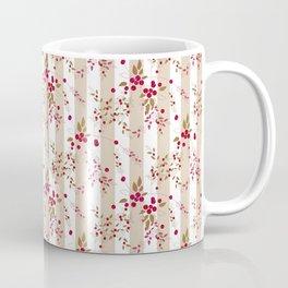 Pattern red wild berries branch texture striped background Coffee Mug