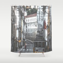 Lisbon Street Tram Shower Curtain
