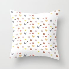 Cat Family for J&K #5 (Slanted Cats) Throw Pillow
