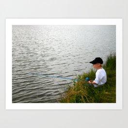Boy fishing - M Art Print