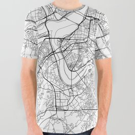 Taipei White Map All Over Graphic Tee