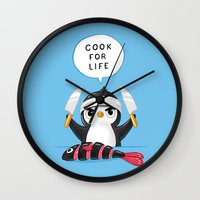 chef Wall Clocks featuring Penguin Chef by Freeminds