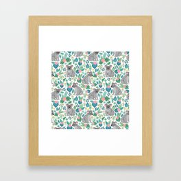 Cute gray koalas with ornaments, tropical flowers and leaves. Seamless tropical pattern. Framed Art Print